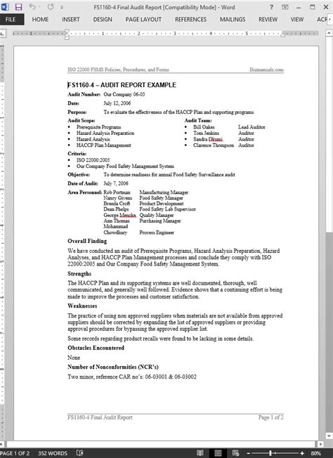 audit report template fsms audit report exle template