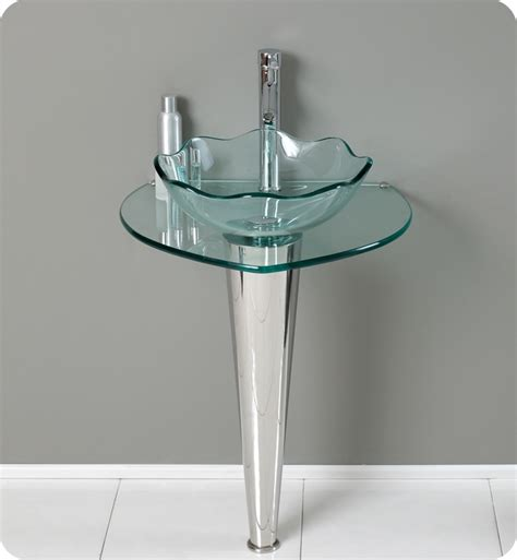 Glass Bathroom Sinks And Vanities by 24 Netto Modern Glass Bathroom Vanity W Wavy Edge Vessel