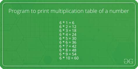 program  print multiplication table   number