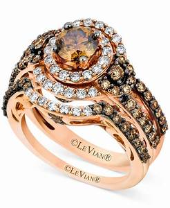 Le vian 14k strawberry goldr bridal set chocolate for Le vian chocolate wedding rings
