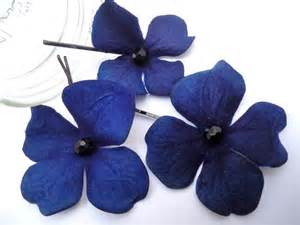 navy blue corsage blue hydrangea bobby pins royal blue hair flowers