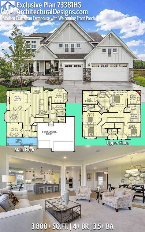 Plan 73381HS: Exclusive Modern Craftsman Farmhouse with