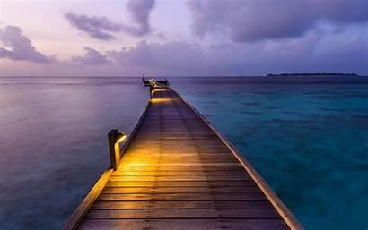 Sunset Tropical Island Dock Walkway Maldives Landscape