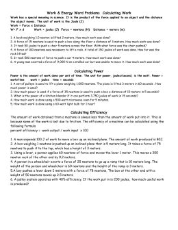 calculating work and power worksheet worksheets for all
