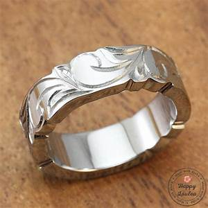 Titanium Ring With Koa Wood Inlay Hand Engraved With