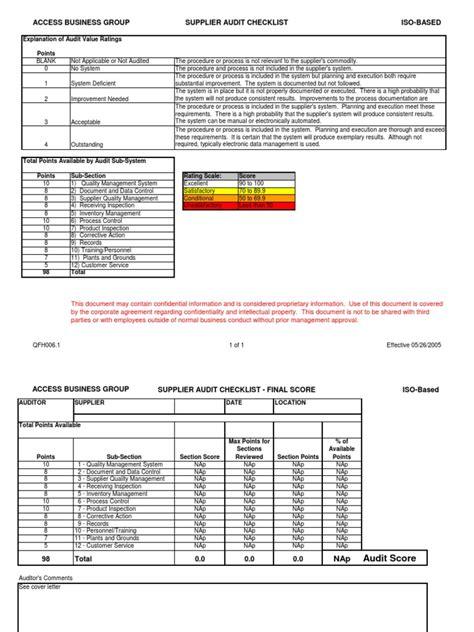iso audit checklistxls audit verification  validation