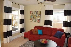 Red black and white living room curtains curtain for Red and cream curtains for living room