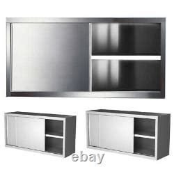 commercial stainless steel kitchen cabinet unit wall sliding door rack cupboard