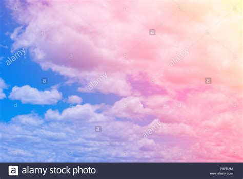 Sweet Pastel Colored Cloud And Sky With Sun Light, Soft