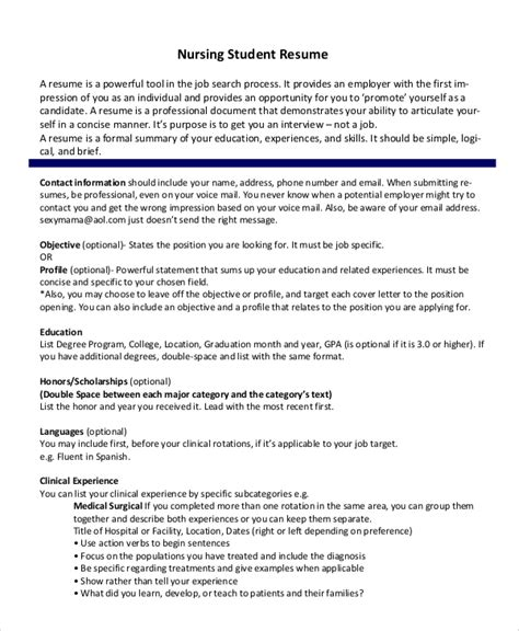 Undergraduate Nursing Student Resume by Sle Nursing Student Resume 8 Exles In Word Pdf