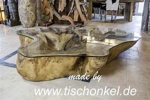 Tisch Aus Holzstamm : couchtisch baumstamm aus suar akazie der tischonkel ~ Lateststills.com Haus und Dekorationen