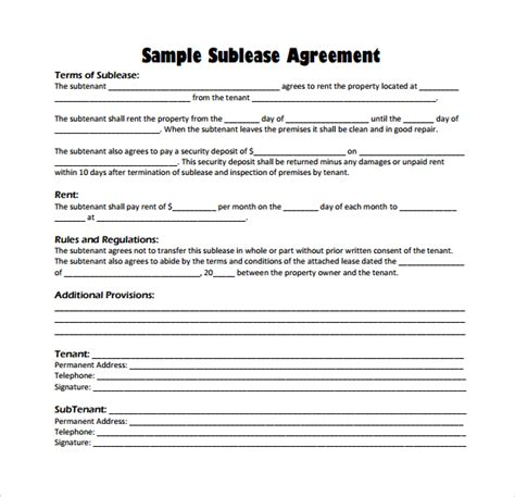 Commercial Sublet Lease Agreement Template by 23 Sle Free Sublease Agreement Templates To