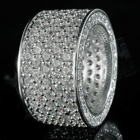 white gold mm silver eternity wedding band micropave