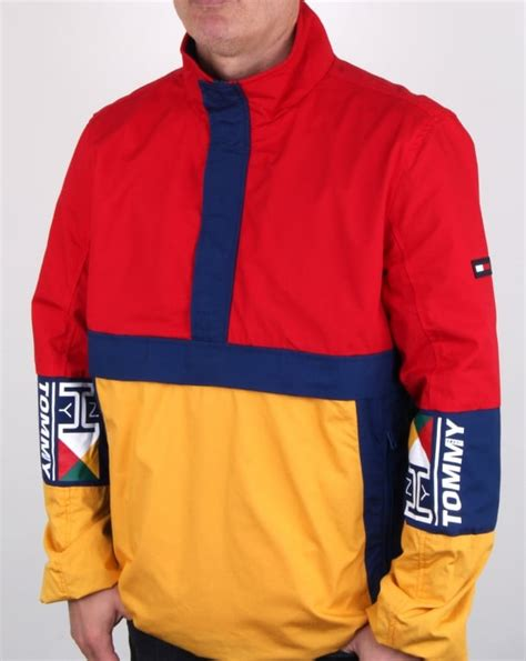 tommy hilfiger retro block pullover jacket redyellownavy