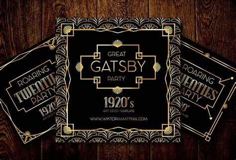 deco art frame invitation border vector gatsby