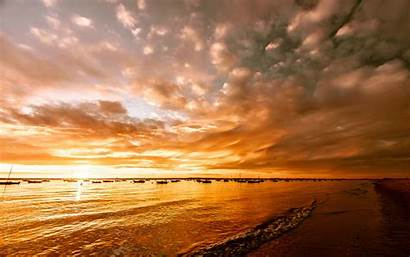 Sunset Wallpapers Desktop Spiaggia Lago Nature Orange