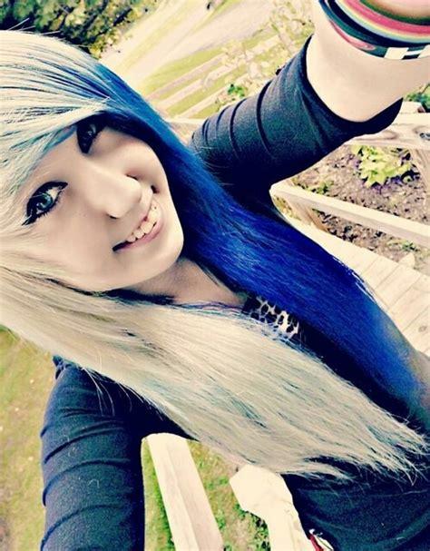 Half Blue Half Blonde Emo Hair Hair