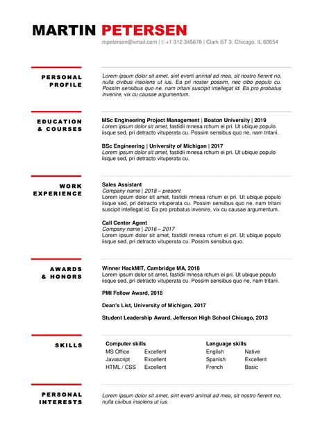 MS word Resume Template. Fully customizable file, directly downloadable.