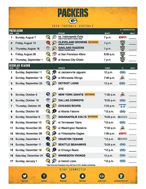 packers  schedule football nfl packers