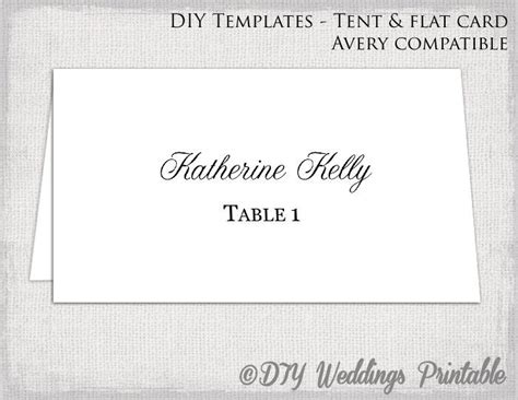 place card template tent flat name card templates etsy