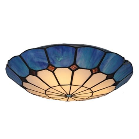 Tiffany Style Lamp Shades by Romantic Blue Trim Two Lights Tiffany Style Flush Mount