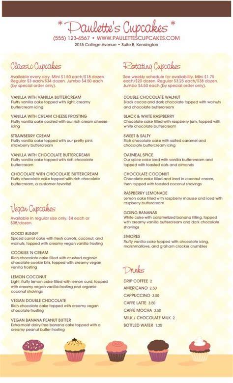 cupcake menu design templates  musthavemenus