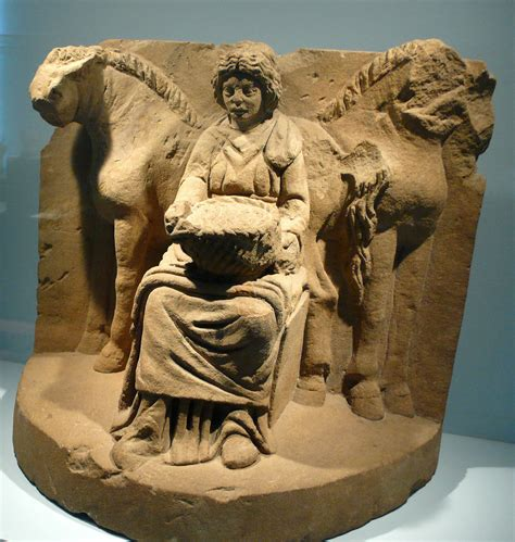 The Gallo-Roman horse goddess Epona, flanked by two horses ...