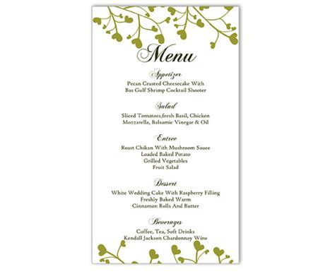 free menu templates for word wedding menu template diy menu card template editable text word file instant green menu