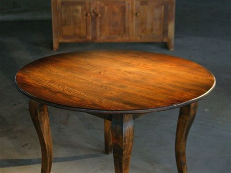 Hand Crafted Round End Table From Reclaimed Old Pine by