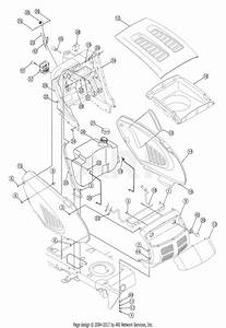 Troy Bilt 13at609g766 Super Bronco  2005  Parts Diagram For Hood Assembly