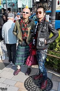 Harajuku Street Punks w/ Mohawk, Head Tattoo, Spikes & Kilt