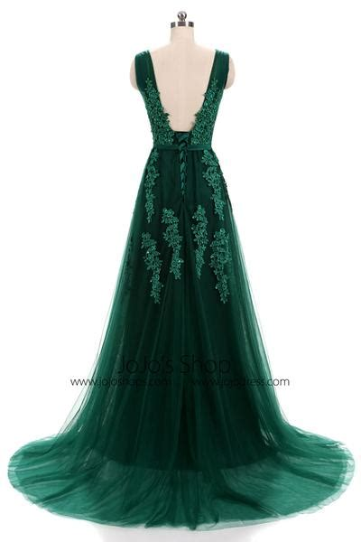 forest green lace formal prom evening dress  open