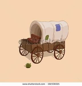 Wagon in the wild west. Vector game design for app - stock ...