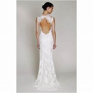 Simple lace open back wedding dress fashionoahcom bridal for Simple lace wedding dress