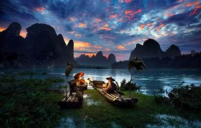 Landscape Nature Mountains River China Asian Mountain