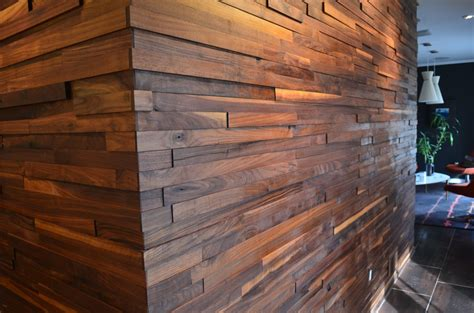 wood planks on walls walnut plank wall two chair