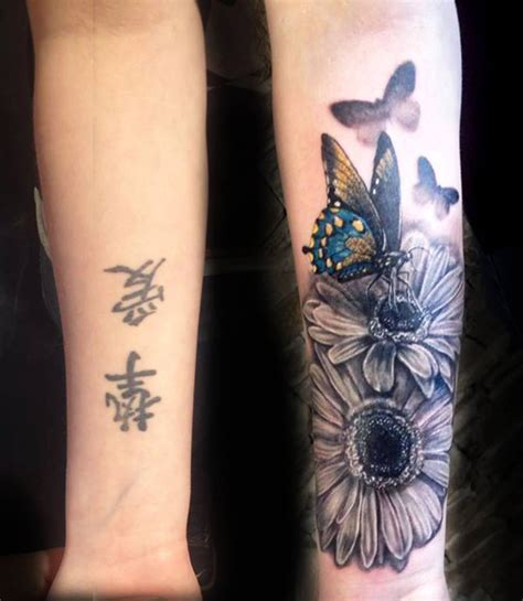 flowers butterflies cover   tattoo design ideas