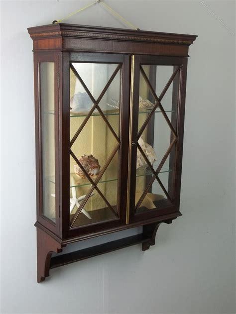 Small Mahogany Hanging Wall Display Cabinet   Antiques Atlas
