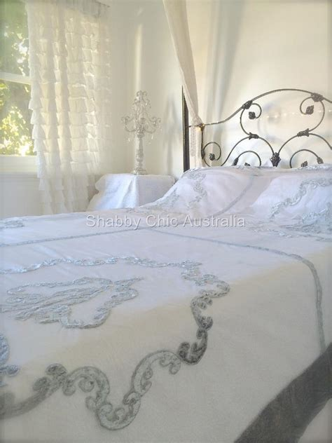 shabby chic velvet bedspread shabby bella chic french lace velvet queen king bed quilt grey silver bedspread ebay