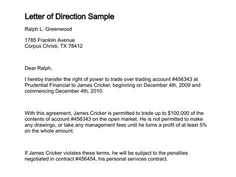 letter  direction template business letter format