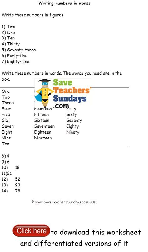 numbers  words worksheets  levels  difficulty
