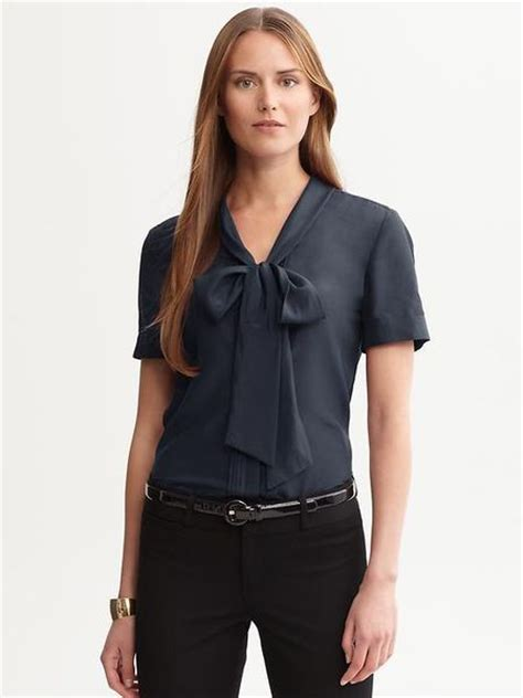 banana republic blouses banana republic tie front sleeve blouse in blue