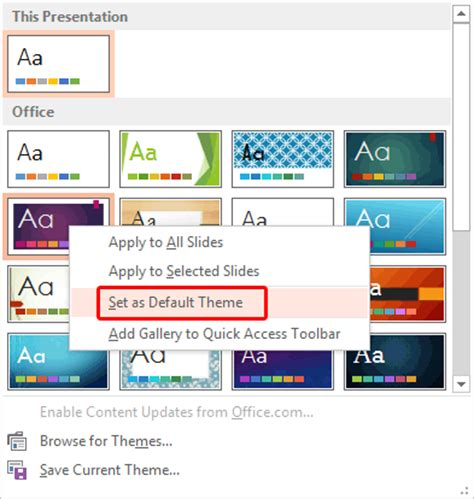 change  default template  theme  powerpoint