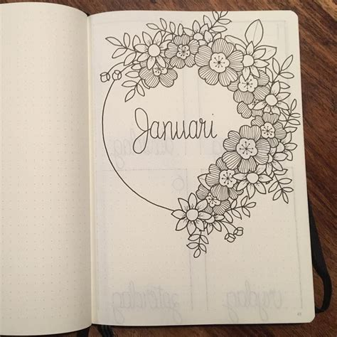 bullet journal monthly cover page january cover page