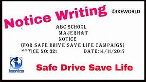 Notice writing on Safe Drive Save Life - YouTube