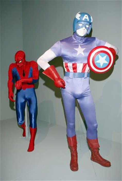 spiderman  captain america costumes  exhibit