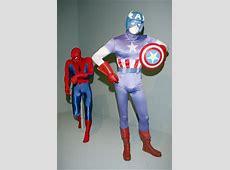 Spiderman and Captain America costumes on exhibit