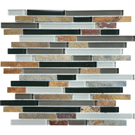 shop graphite linear mosaic and glass wall tile