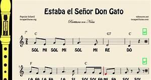 diegosax: Estaba el Señor Don Gato Partitura Infantil con Notas, Flauta, Violín, Saxofón Alto