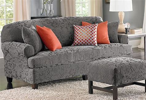 Patterned Loveseat by Stretch Jacquard Damask Slipcovers Gray Is The New